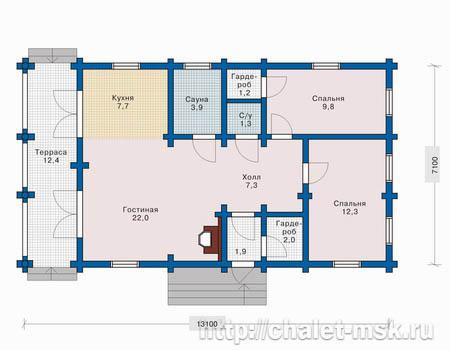 Дом из оцилиндрованного бревна BV-14-01 план