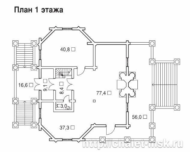 Деревянный сруб проект BV-14-03 1 этаж план