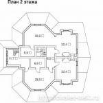 Деревянный сруб проект BV-14-03 2 этаж план