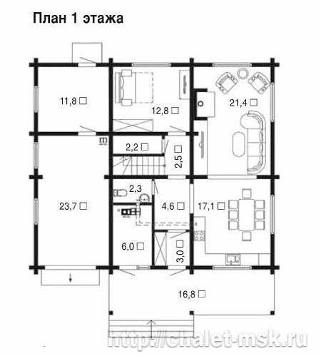Дом из бруса BRS-15-01 1 этаж