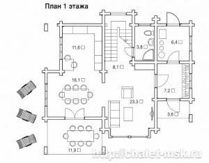 Дом из бруса BRS-15-02 план 1 этажа