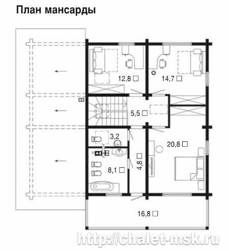 Дом из бруса BRS-15-01 2 этаж