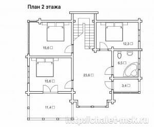 Дом из бруса BRS-15-02 план 2 этажа