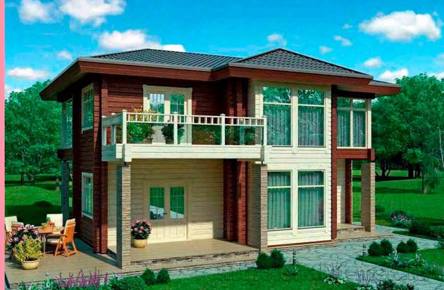 Дом из бруса BRS-15-02 общий вид