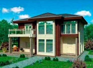 Дом из клееного бруса проект BRS-15-02 вид с фасада