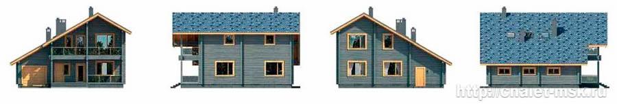 Дом из бруса BRS-15-01 со всех сторон