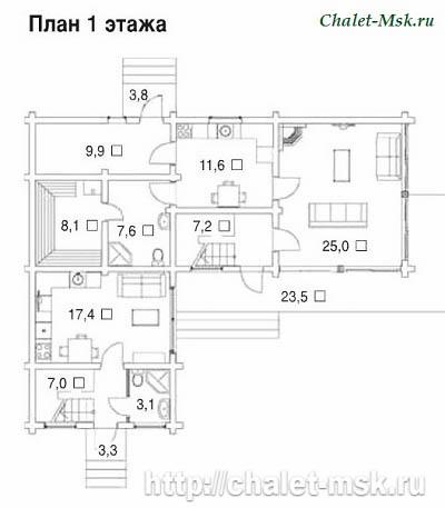 Проект дома из  бруса BRS-15-04 план 1 этажа