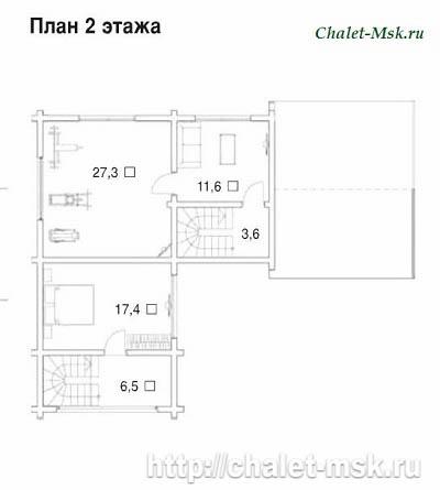 Проект дома из бруса BRS-15-04 план 2 этажа
