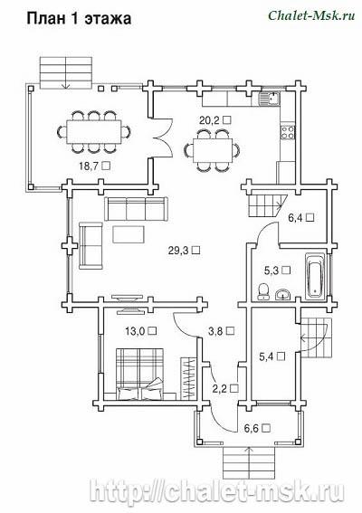 Дом из бруса BRS-15-05 план 1 этажа