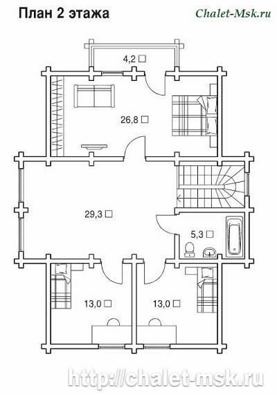 Дом из  бруса BRS-15-05 план 2 этажа