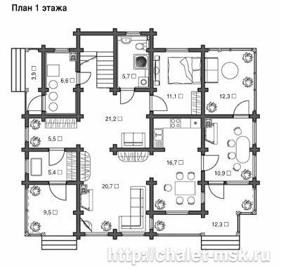 Проект дома из бруса BRS-15-06 план 1 этажа