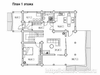 Проект дома из  бруса BRS-15-07 план 1 этажа