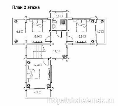 Проект дома из  бруса BRS-15-07 план 2 этажа