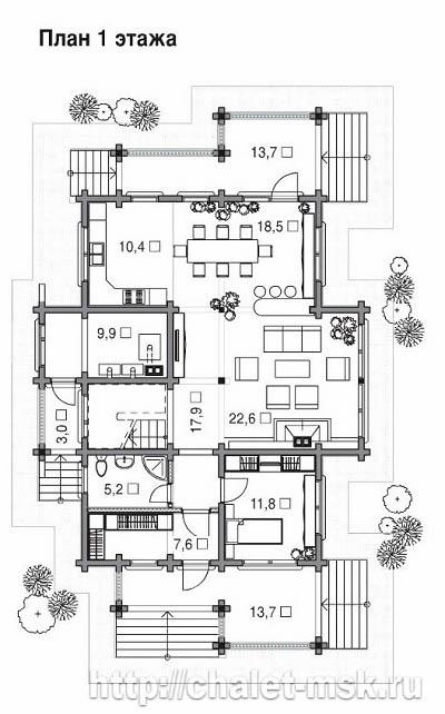Проект дома из  бруса BRS-15-08 план 1 этажа