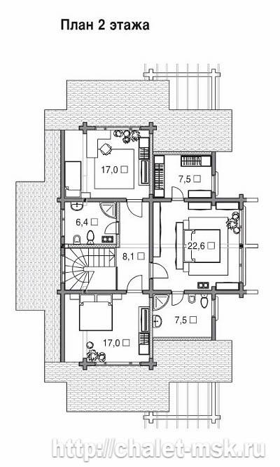 Проект дома из бруса BRS-15-08 план 2 этажа