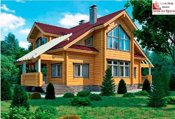 Дом из бруса BRS-15-08 общий вид