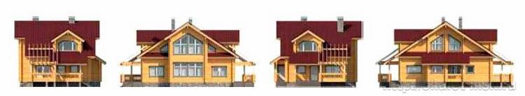 Проект дома из бруса BRS-15-08 разные виды