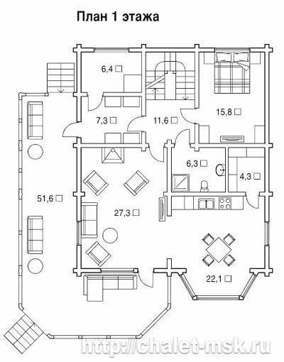 Проект дома из бруса BRS-15-09 план 1 этажа