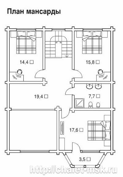 Проект дома из  бруса BRS-15-09 план 2 этажа