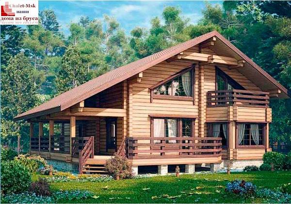 Дом из бруса BRS-15-09 общий вид