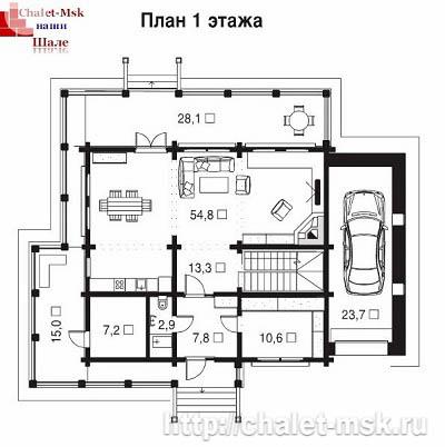 Дом в стиле шале chl-14-07 1 этаж