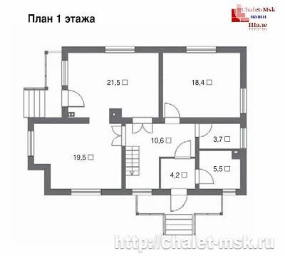 Дом в стиле шале chl-14-08 1 этаж