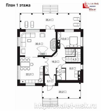 Дом в стиле шале chl-14-02 1 этаж