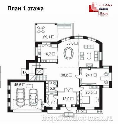 Дом в стиле шале chl-14-03 1 этаж