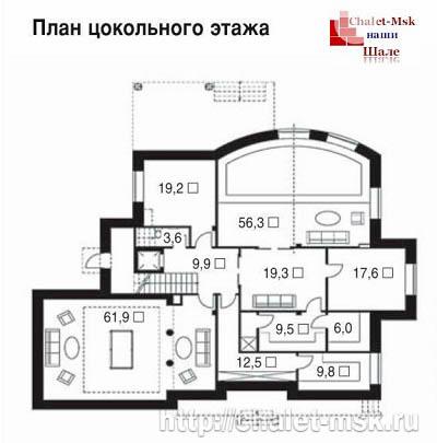 Дом в стиле шале chl-14-03 цокольный этаж