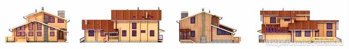 Проект дома из бревна bv-14-05 фасады