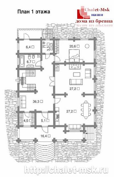 Дом из бревна bv-14-06 первый этаж