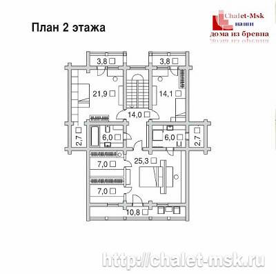 Дом из бревна bv-14-07 второй этаж