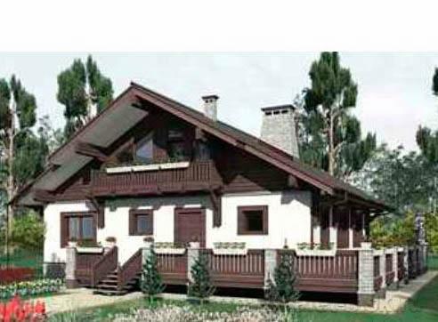 Дом в стиле шале chl-14-09 вид сбоку