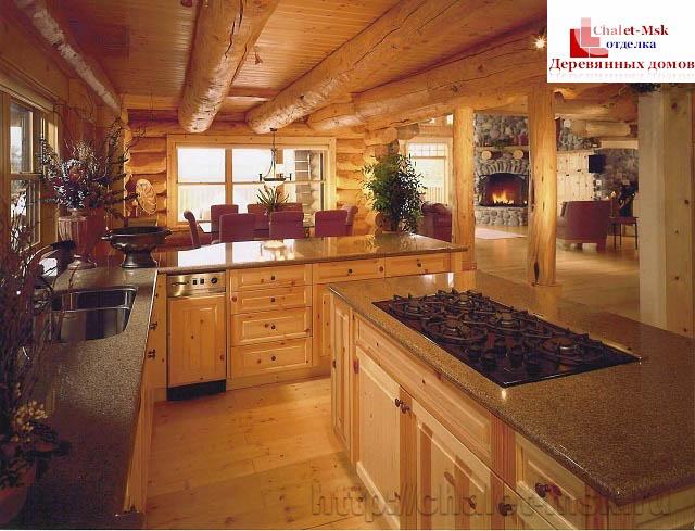 Внутренняя отделка деревянного дома на кухне