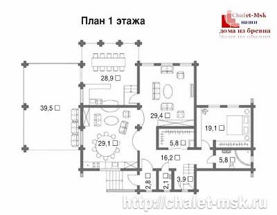 Дом из бревна bv-14-09 первый этаж
