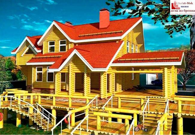 Деревянный сруб, дом из бревна проект BV-14-09