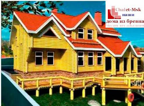 Дом из бревна bv-14-09 вид сбоку
