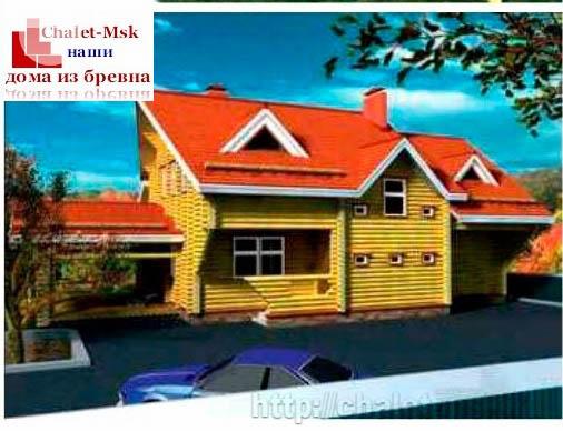 Дом из бревна bv-14-09 вид с тыла