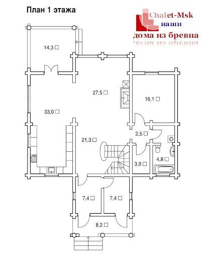 Дом из бревна bv-14-10 первый этаж