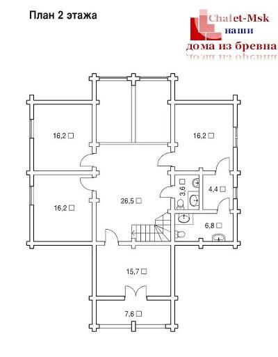 Дом из бревна bv-14-10 второй этаж